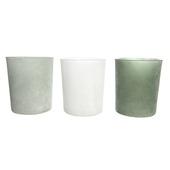 Theelichtjes poederglas wit-eucalyptus-dennengroen per stuk