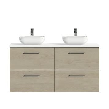 Tiger badkamermeubel Studio 120cm naturel eik/witte waskom met vierkante greep