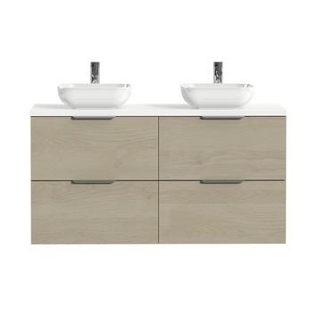 Tiger badkamermeubel Studio 120cm naturel eik/witte waskom met profielgreep