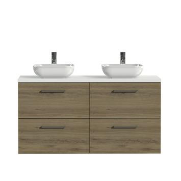 Tiger badkamermeubel Studio 120cm chalet eik/witte waskom met vierkante greep