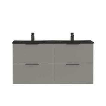 Tiger Badkamermeubel Studio 120 cm Mat Grijs met Dubbele Polybeton Wastafel Mat Zwart en Profielgrepen