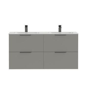 Tiger Badkamermeubel Studio 120 cm Mat Grijs met Dubbele Polybeton Wastafel Hoogglans Wit en Profielgrepen