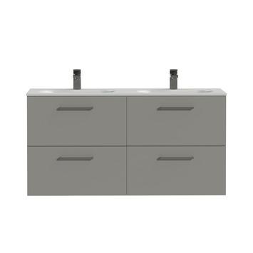 Tiger Badkamermeubel Studio 120 cm Mat Grijs met Dubbele Polybeton Wastafel Mat Wit en Vierkante Grepen