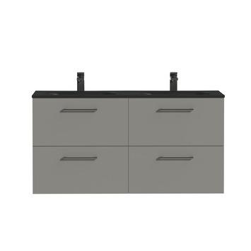 Tiger badkamermeubel Studio 120cm matgrijs/mat zwart met ronde greep