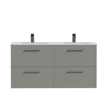 Tiger Badkamermeubel Studio 120 cm Mat Grijs met Dubbele Polybeton Wastafel Hoogglans Wit en Ronde Grepen