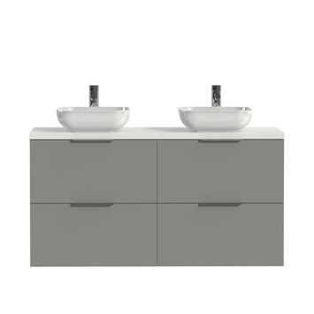 Tiger badkamermeubel Studio 120cm matgrijs/witte waskom met profielgreep