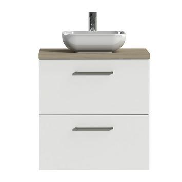 Tiger Badkamermeubel Studio 60 cm Hoogglans Wit met Keramische Waskom Hoogglans Wit en Vierkante Grepen