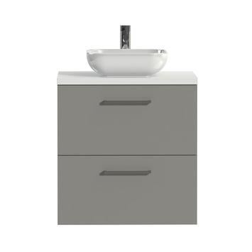 Tiger Badkamermeubel Studio 60 cm Mat Grijs met Keramische Waskom Hoogglans Wit en Vierkante Grepen