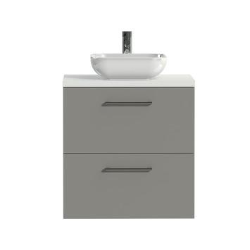 Tiger Badkamermeubel Studio 60 cm Mat Grijs met Keramische Waskom Hoogglans Wit en Ronde Grepen