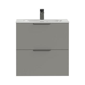 Tiger Badkamermeubel Studio 60 cm Mat Grijs met Keramische Wastafel Hoogglans Wit en Profielgrepen