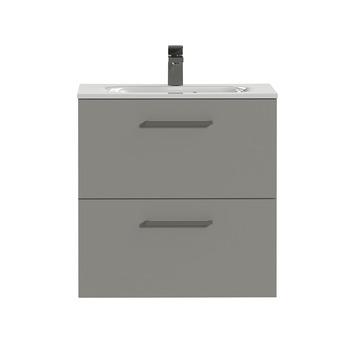 Tiger Badkamermeubel Studio 60 cm Mat Grijs met Keramische Wastafel Hoogglans Wit en Vierkante Grepen