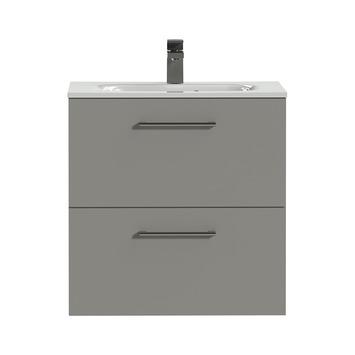 Tiger Badkamermeubel Studio 60 cm Mat Grijs met Keramische Wastafel Hoogglans Wit en Ronde Grepen
