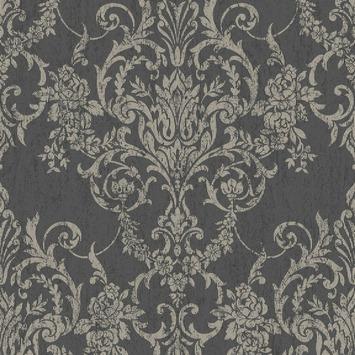 Vliesbehang Victoriaans damask zwart-goud 103028