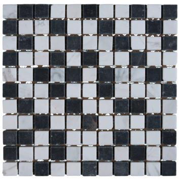 Mozaiek Wit/Zwart/Grijs 30x30cm