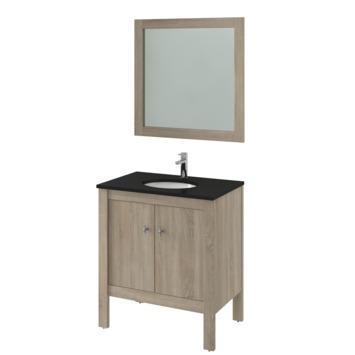 Bruynzeel Heros badmeubelset staand met spiegel eiken grijs 80 cm