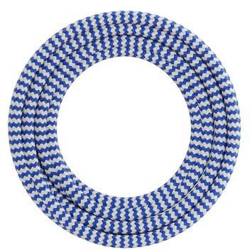 Calex kabel textiel 2x0,75mm2 1,5M blauw/wit