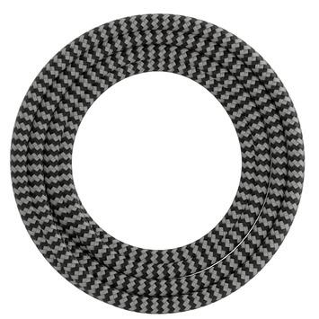 Calex kabel textiel 2x0,75mm2 1,5M zwart/wit