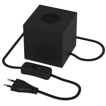 Calex E27 tafellamp-voet met schakelaar max.1x40W 1,8M snoer, mat zwart