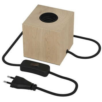 Calex E27 tafellamp-voet met schakelaar max.1x40W 1,8M snoer, hout