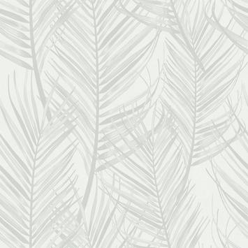 Vliesbehang Palm wit-grijs 105964