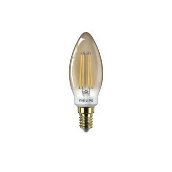 Philips LED kaarslamp filament E14 32W goud