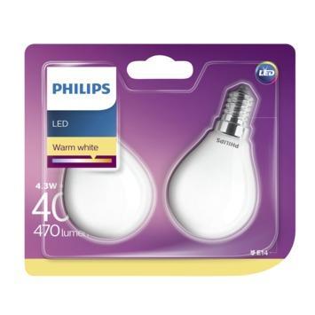 Philips LED kogel E14 4,3W(=40W) 470 lm 2st.