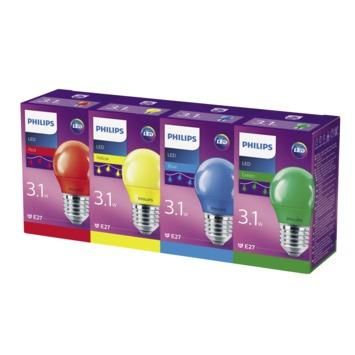 Philips LED kogellamp E27 partyset kleur