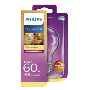 Philips LED classic 60W E27 peer helder warmglow dimbaar