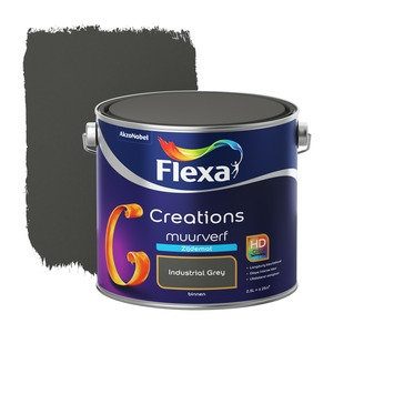 Flexa Creations muurverf industrial grey zijdemat 2,5 liter