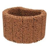 Bloembak beton rond bruin 35x28x20 cm