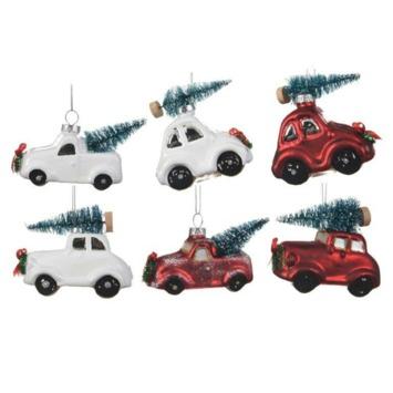 Kerstboomhanger auto met boom 6 assorti - per stuk