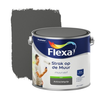 Flexa Strak op de muur antraciet mat 2,5 liter