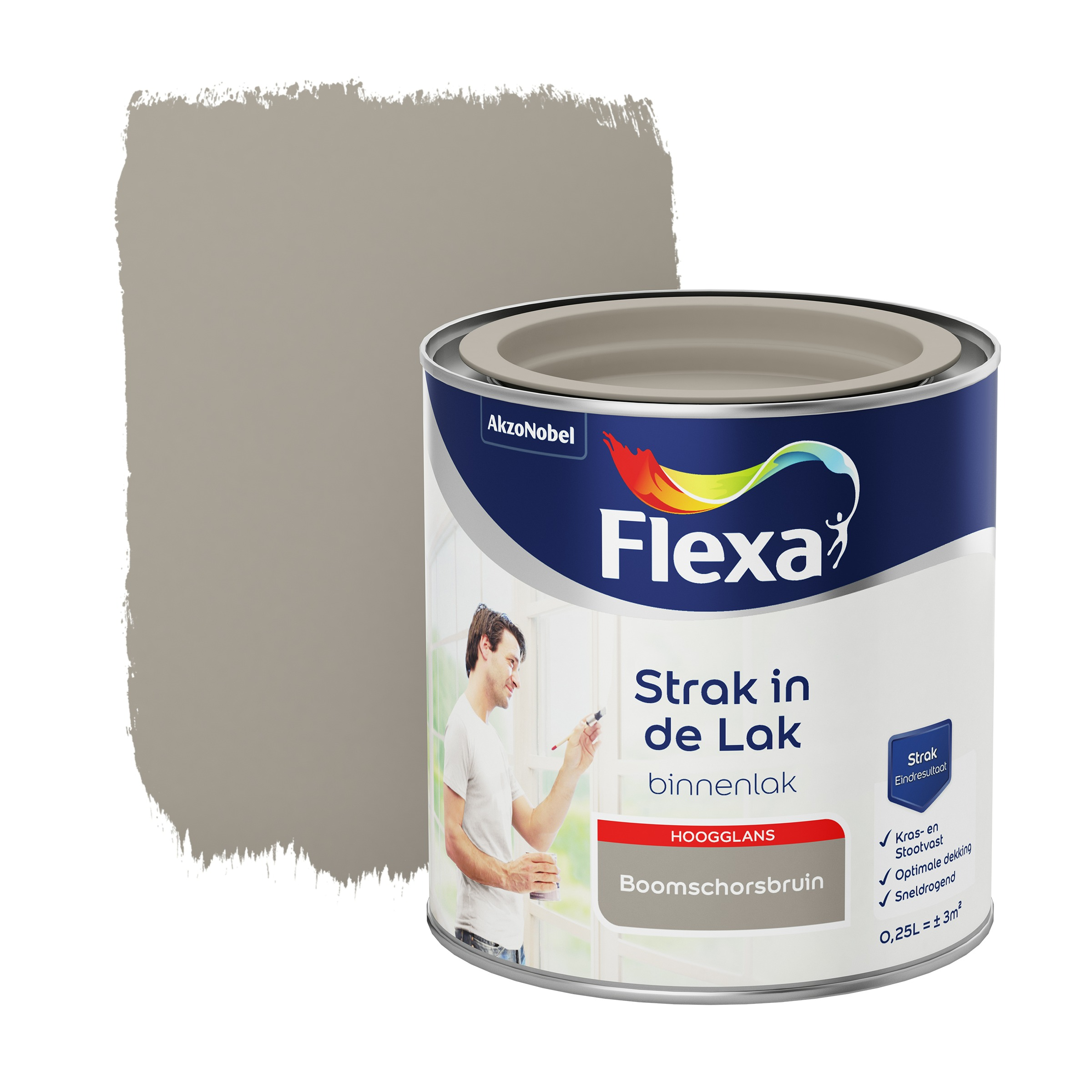 Flexa Strak In De Lak Hoogglans Boomschorsbruin 250 ML