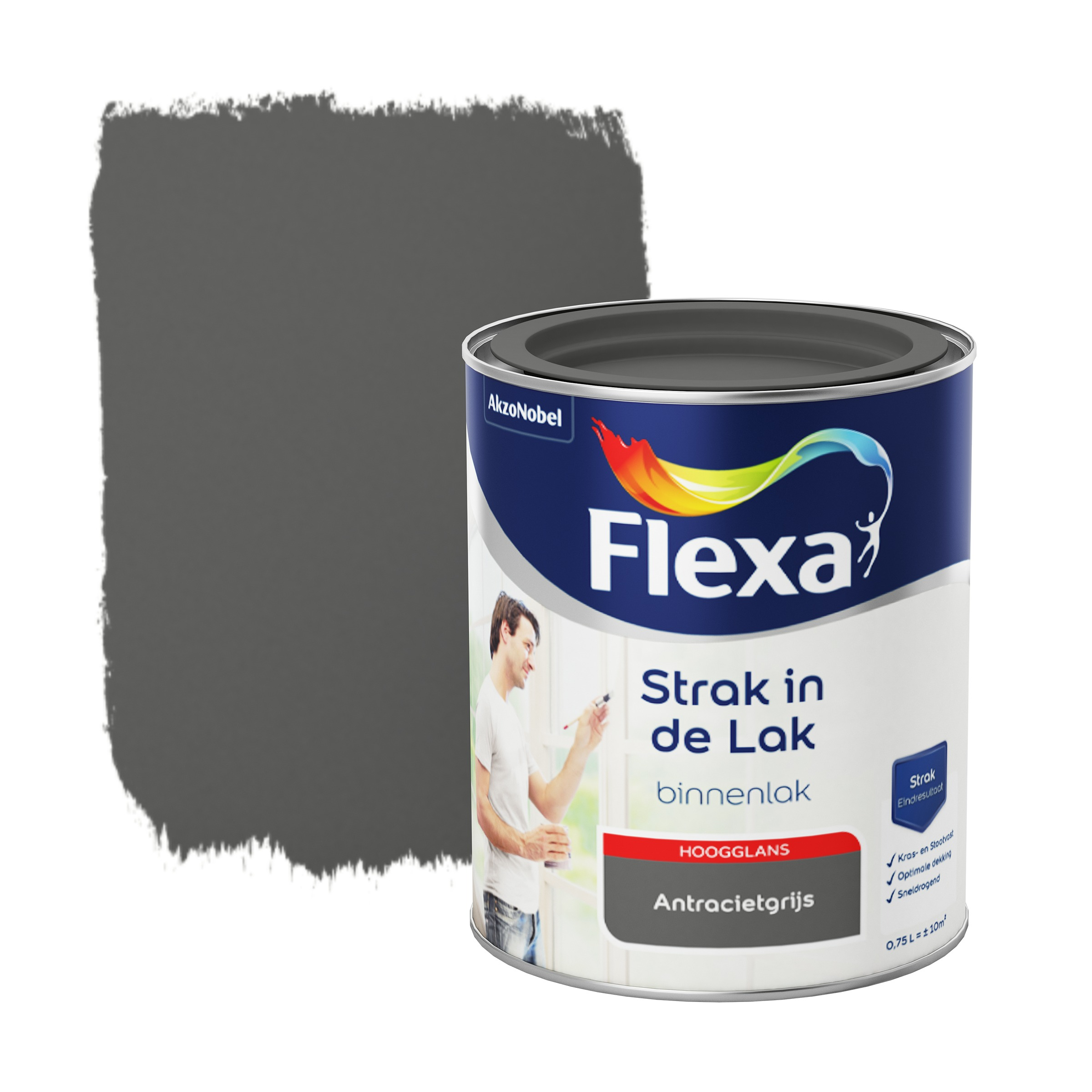 Flexa Strak In De Lak Hoogglans Antracietgrijs 750 ML