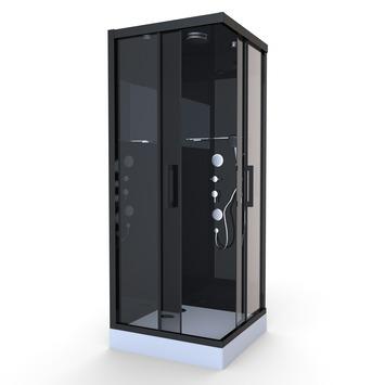 Aurlane Douchecabine met Schuifdeur Black Mirror 2 Vierkant Zwart 90x90 cm