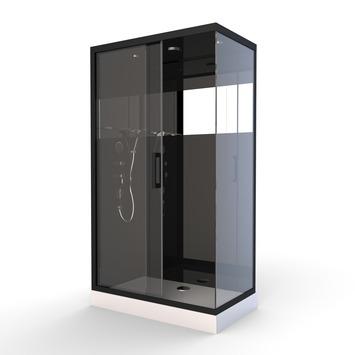 Aurlane Douchecabine met Schuifdeur Black Mirror 2 Rechthoek Zwart 80x110 cm
