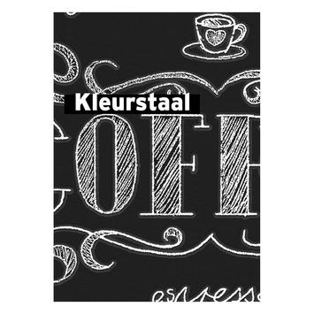 Behangstaal vliesbehang Coffee krijtmuur zwart-wit 32-993