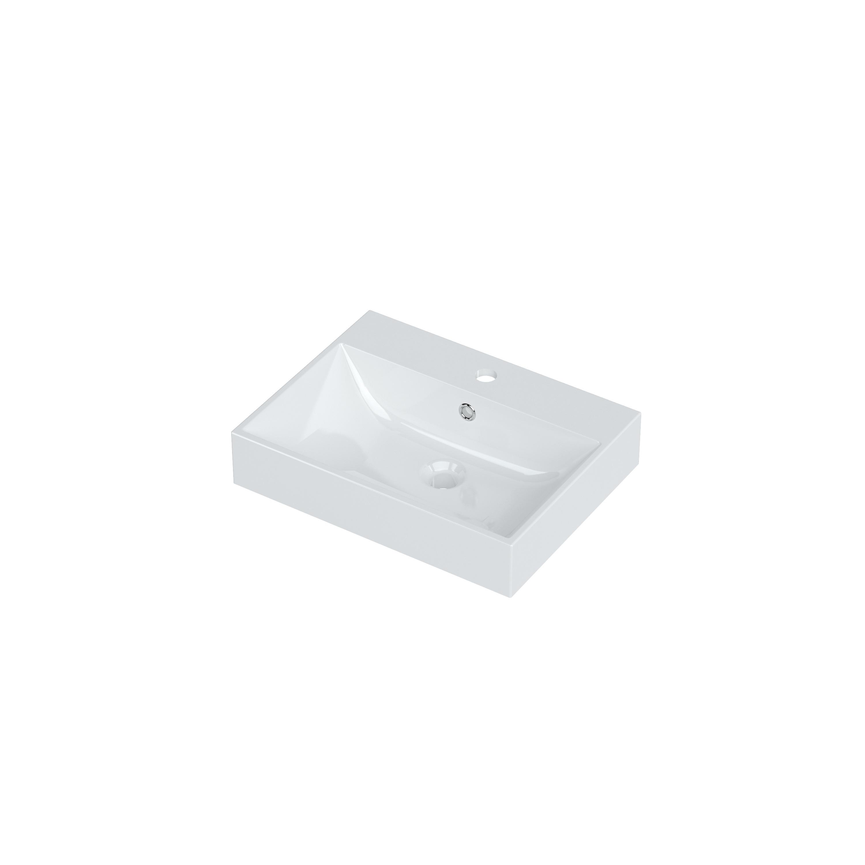 Bruynzeel Mino meubelwastafel 50x38 cm, 1x kraangat met overloop, wit