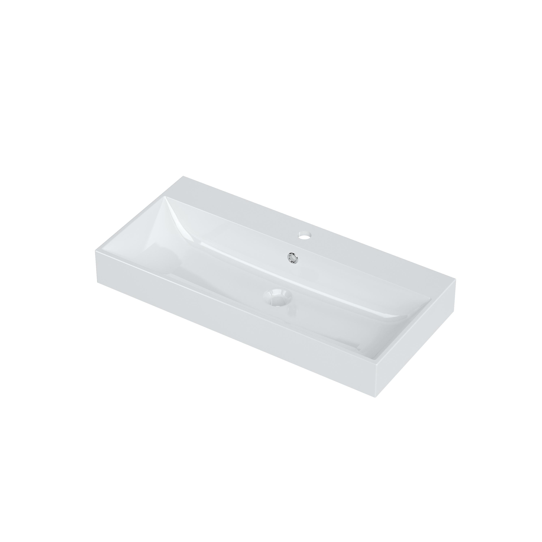 Bruynzeel Mino meubelwastafel 80x38 cm, 1x kraangat met overloop, wit