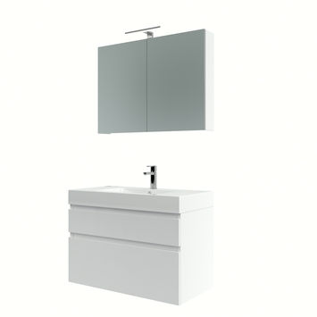 Bruynzeel Monta badmeubelset met spiegelkast hoogglans wit 90 cm