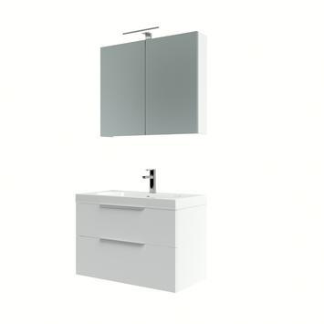 Bruynzeel Muza badmeubelset met spiegelkast hoogglans wit 80 cm