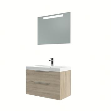 Bruynzeel Muza badmeubelset met spiegel eiken grijs 80 cm