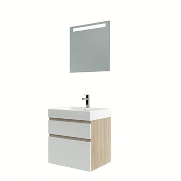 Bruynzeel Monta badmeubelset met spiegel eiken grijs/hoogglans wit 60cm