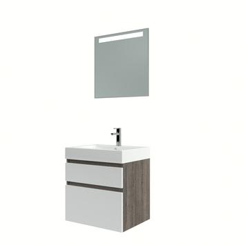 Bruynzeel Monta badmeubelset met spiegel wengé/hoogglans wit 60 cm