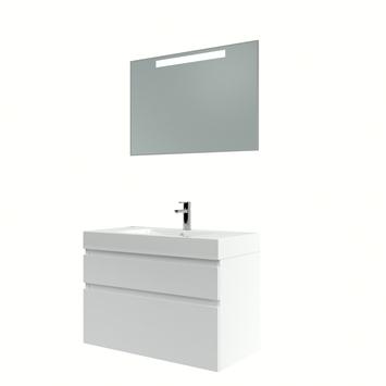 Bruynzeel Monta badmeubelset met spiegel hoogglans wit 90 cm