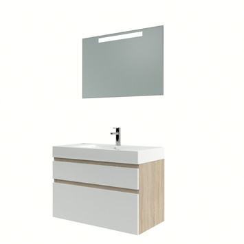 Bruynzeel Monta badmeubelset met spiegel eiken grijs/hoogglans wit 90 cm