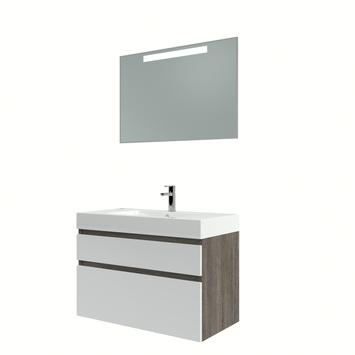 Bruynzeel Monta badmeubelset met spiegel wengé/ hoogglans wit 90 cm