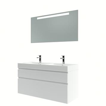 Bruynzeel Monta badmeubelset met spiegel dubbel hoogglans wit 120 cm