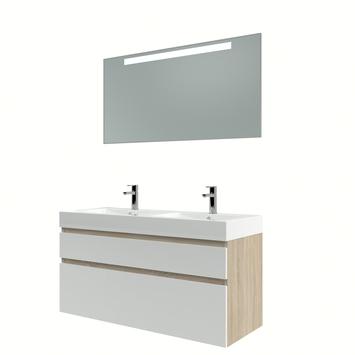 Bruynzeel Monta badmeubelset met spiegel dubbel eiken grijs/hoogglans wit 120 cm