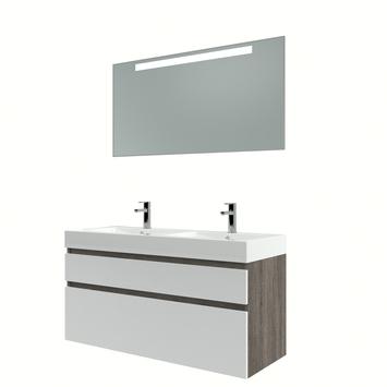 Bruynzeel Monta badmeubelset met spiegel dubbel wengé/hoogglans wit 120 cm